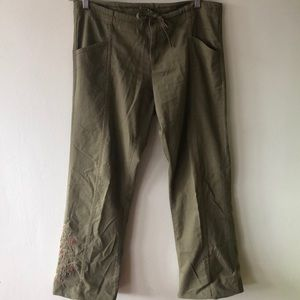 Prana drawstring pants with embroidery. Size L